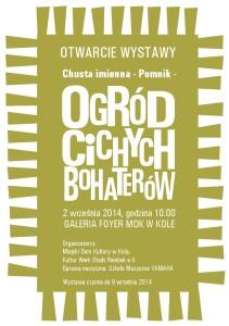 Plakat zur Ausstellung Namentuchdenkmal Garten der stillen Helden - Chusta imienna - Ogród cichych bohaterów in Koło 2.-9.9.2014